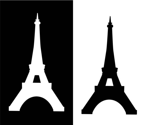 Eiffel tower isolated vector illustration Eiffel tower isolated vector illustration collection silhouette eiffel tower stock illustrations