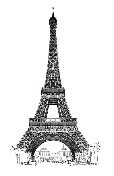 Eiffel tower isolated, very detailed Eiffel tower isolated, very detailed - vector illustration eiffel tower stock illustrations