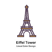 Eiffel Tower Lineal Color Vector Illustration