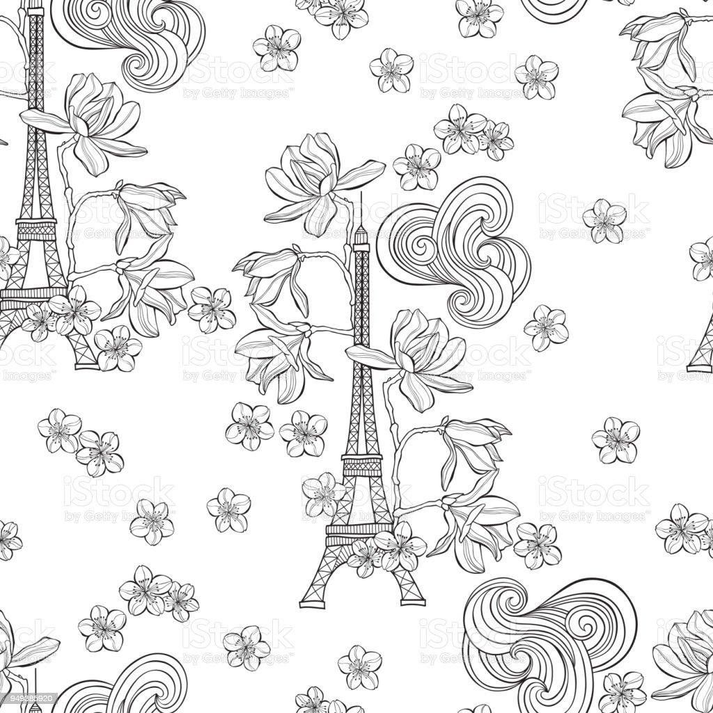 Eiffel Tower, magnolia and sakura.  Seamless spring pattern on a white background. Vector illustration. vector art illustration