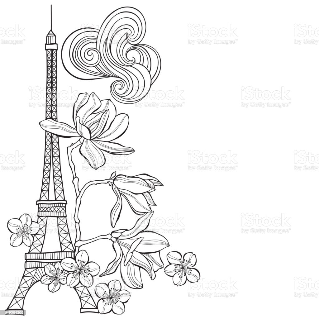 Eiffel Tower, magnolia and sakura.  Spring illustration with place for text on a white background.Vertical composition. Greeting card, invitation or isolated elements for design. vector art illustration