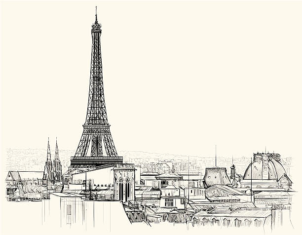 Eiffel tower over roofs of Paris Vector illustration of Eiffel tower over roofs of Paris eiffel tower stock illustrations