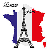 Eiffel tower. Paris, capital city of France. Emblem icon with tricolor flag on french map. Vector illustration.