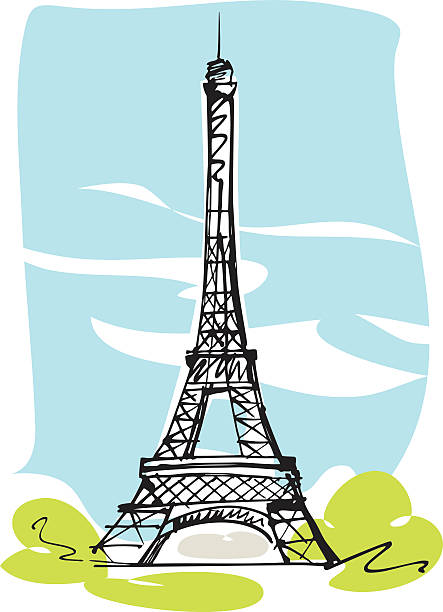 Eiffel Tower, Paris Drawing of the Eiffel Tower eiffel tower stock illustrations