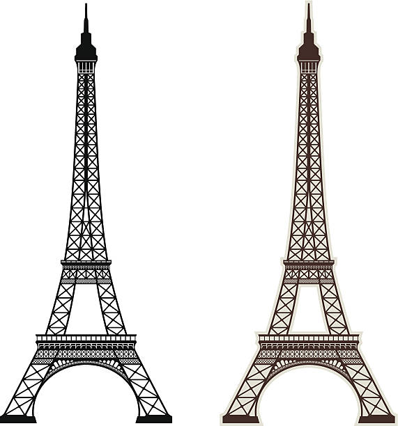 Eiffel Tower Paris Eiffel Tower in Paris. eiffel tower stock illustrations