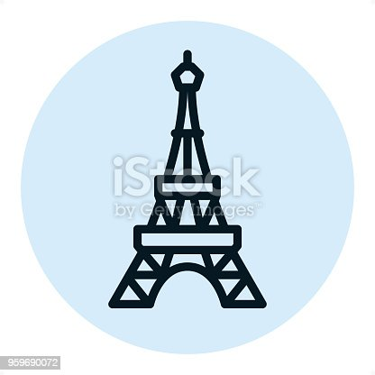 Eiffel tower — Professional outline style vector icon. Pixel Perfect Principle - icon designed in 64x64 pixel grid, outline stroke 2 px. Blue circle 80x80 px.  Complete Outline PRO icon board - https://www.istockphoto.com/collaboration/boards/r3MrrRaQskC97xh5LR9hsg