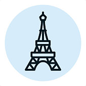 Eiffel tower — Professional outline style vector icon.\nPixel Perfect Principle - icon designed in 64x64 pixel grid, outline stroke 2 px. Blue circle 80x80 px.\n\nComplete Outline PRO icon board - https://www.istockphoto.com/collaboration/boards/r3MrrRaQskC97xh5LR9hsg