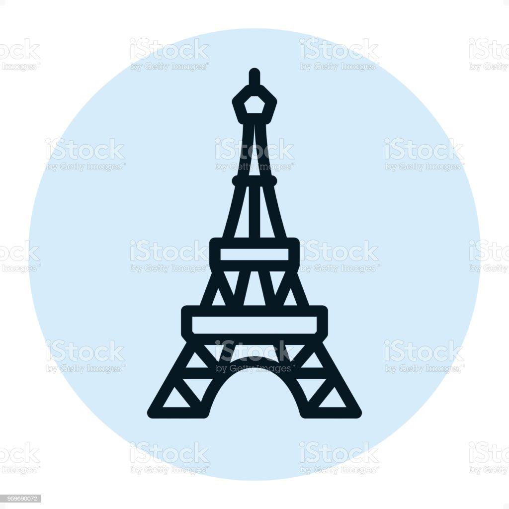 Eiffel tower - Pixel Perfect Single Line Icon vector art illustration