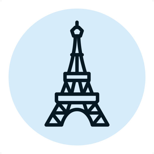 Eiffel tower - Pixel Perfect Single Line Icon Eiffel tower — Professional outline style vector icon. Pixel Perfect Principle - icon designed in 64x64 pixel grid, outline stroke 2 px. Blue circle 80x80 px.  Complete Outline PRO icon board - https://www.istockphoto.com/collaboration/boards/r3MrrRaQskC97xh5LR9hsg eiffel tower stock illustrations