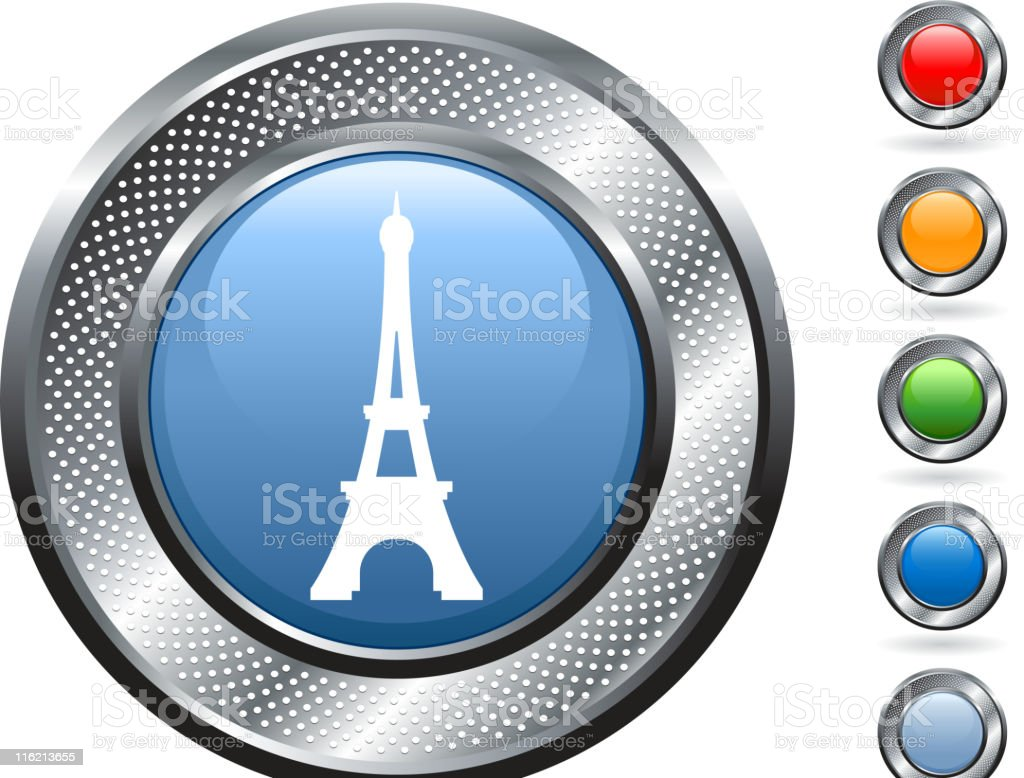 Eiffel Tower royalty free vector art on metallic button royalty-free eiffel tower royalty free vector art on metallic button stock vector art & more images of blank