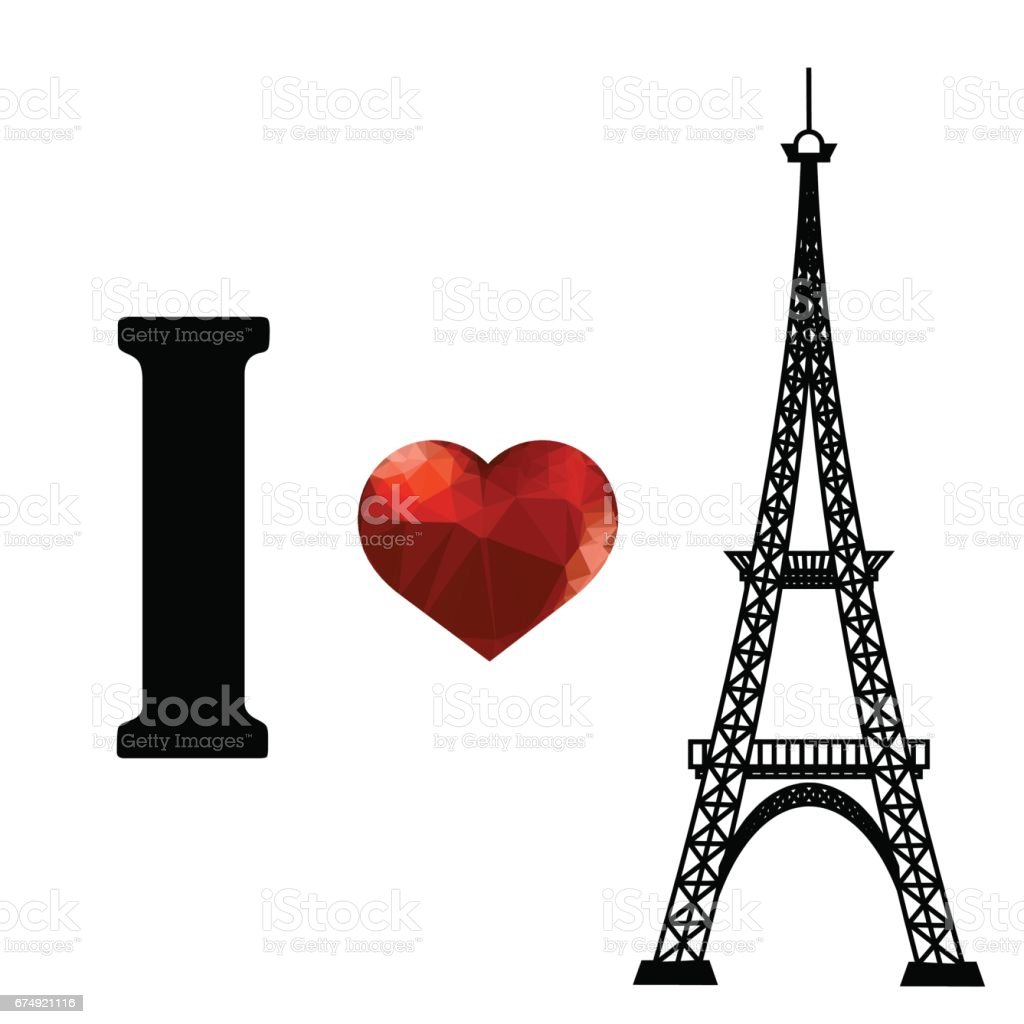 Eiffel Tower Silhouette and Red Polygonal Heart royalty-free eiffel tower silhouette and red polygonal heart stock vector art & more images of architecture