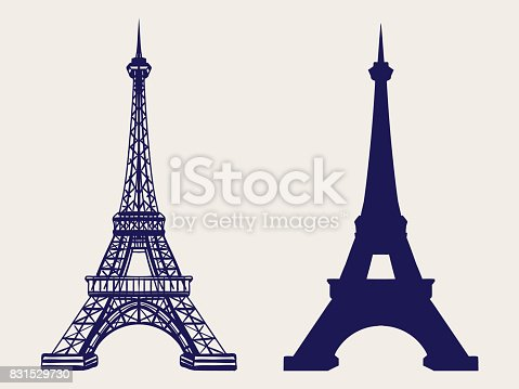 istock Eiffel tower silhouette and sketched icons 831529730