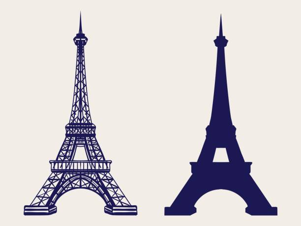 Eiffel tower silhouette and sketched icons Eiffel tower silhouette and hand sketched icons. Vector symbols of Paris eiffel tower stock illustrations