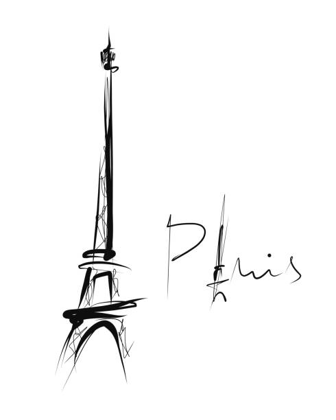 Eiffel tower, simple drawing, sketch Hand drawn illustration, vector eiffel tower stock illustrations