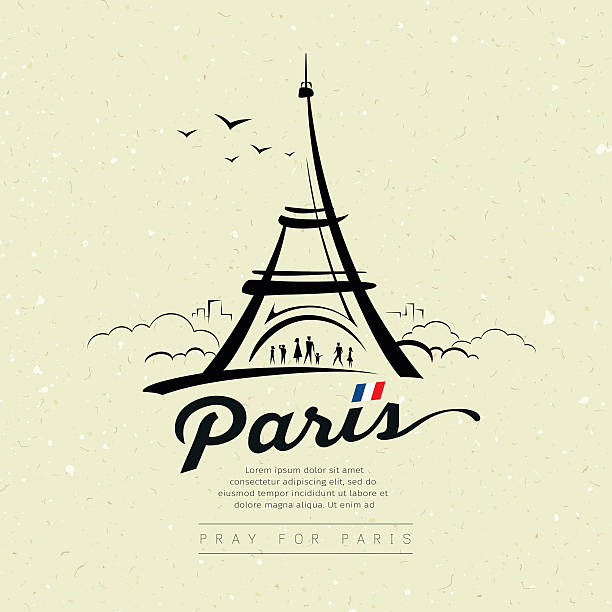 Eiffel tower sketch design on cream recycle paper Eiffel tower sketch design on cream recycle paper, greeting card background, vector illustration eiffel tower stock illustrations