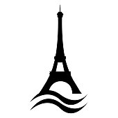 Eiffel Tower stylized silhouette with Seine river waves. Paris vector capital landmark. France.