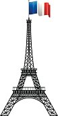 Eiffel tower concept silhouette isolated on white. EPS 10 file. Transparency effects used on highlight elements.