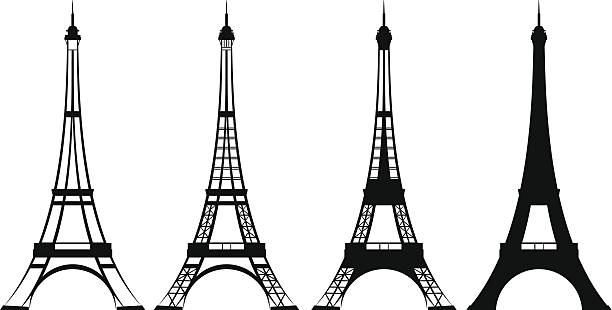eiffel tower eiffel tower silhouette and outline design set - tourism and sightseeing in france eiffel tower stock illustrations