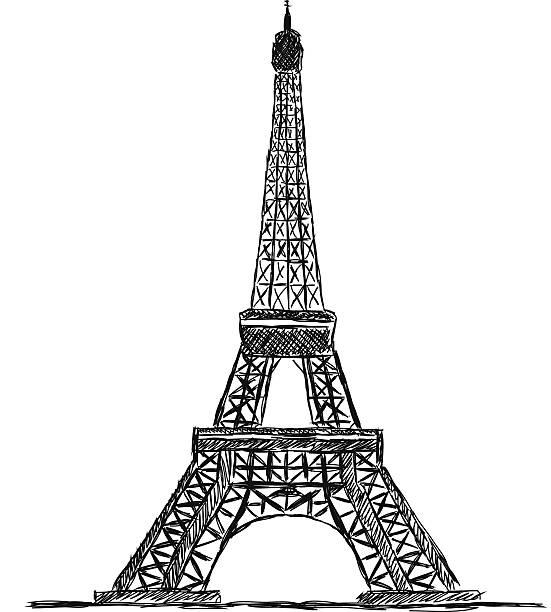 Line Drawing Eiffel Tower : Royalty free eiffel tower line drawing clip art vector