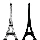 Silhouette of the Eiffel Tower isolated on white background.