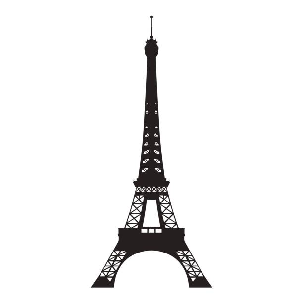 Eiffel tower, vector isolated silhouette Eiffel tower, vector isolated silhouette eiffel tower stock illustrations