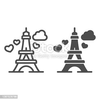 istock Eiffel Tower with heart line and solid icon, valentine day concept, romance travel sign on white background, Paris as symbol love icon in outline style for mobile concept, web design. Vector graphics. 1287528786