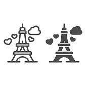 Eiffel Tower with heart line and solid icon, valentine day concept, romance travel sign on white background, Paris as symbol love icon in outline style for mobile concept, web design. Vector graphics