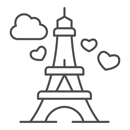 Eiffel Tower with heart thin line icon, valentine day concept, romance travel sign on white background, Paris as symbol love icon in outline style for mobile concept, web design. Vector graphics.