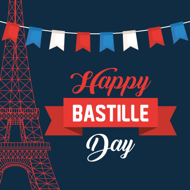 eiffel tower with party banner and ribbon vector art illustration