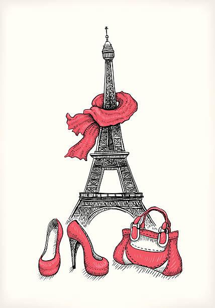 エッフェル塔、シューズ、ハンドバッグ - パリのファッション点のイラスト素材/クリップアート素材/マンガ素材/アイコン素材