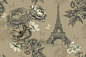 Eiffel tower with roses, phloxes and butterflies on a vintage, seamless background. Hand-drawn, vector illustration.