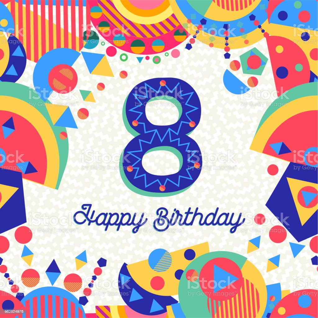 Número de cartão de festa de aniversário de 8 anos oito - Vetor de Aniversário royalty-free