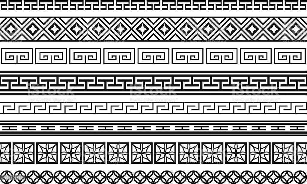 Eight Asian style borders
