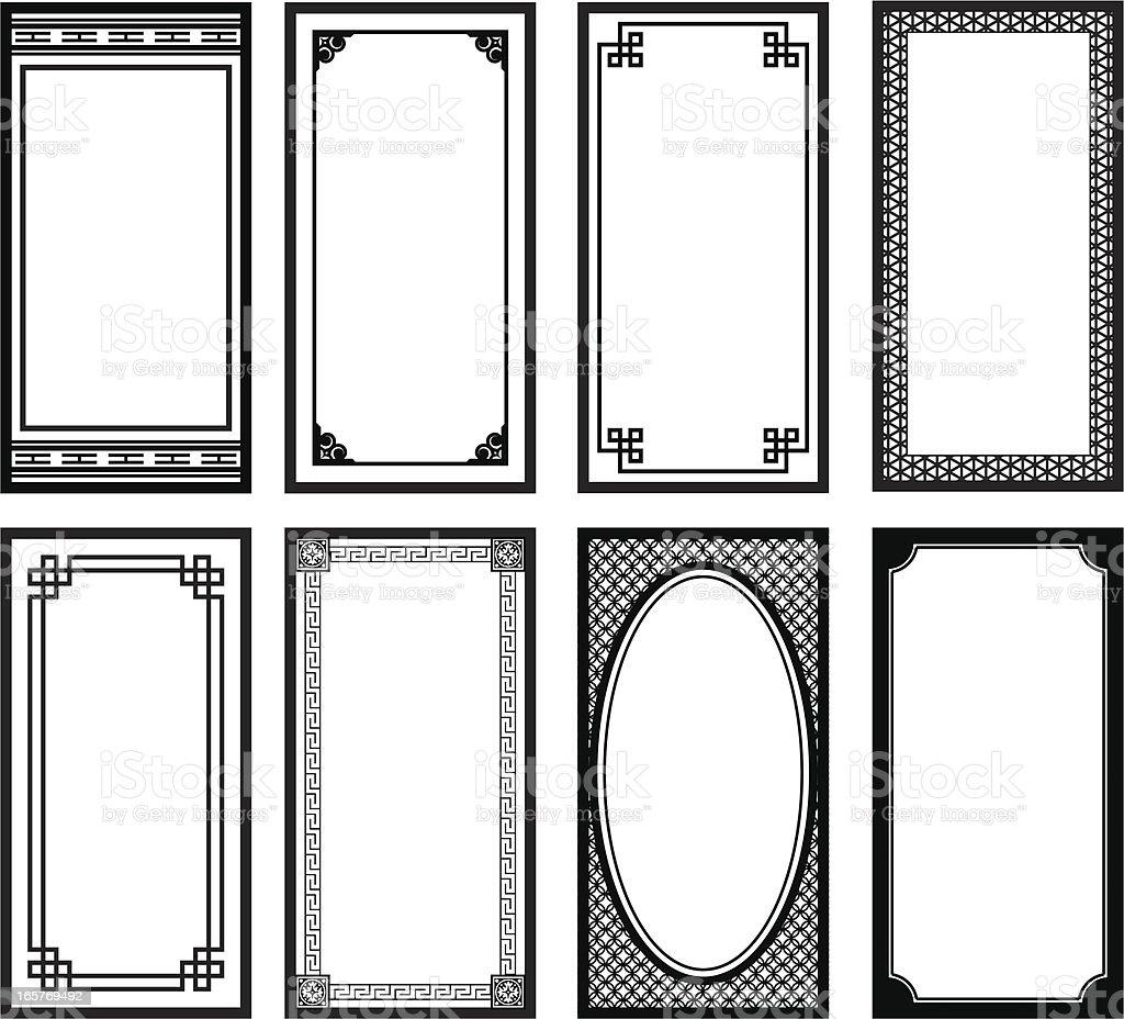 Eight Asian style frames vector art illustration