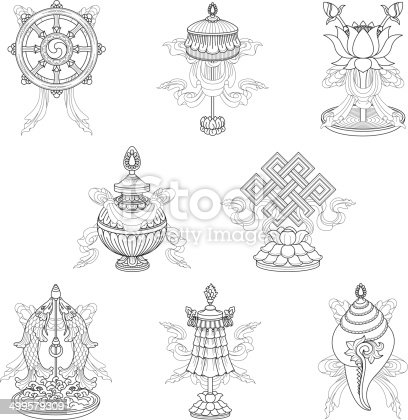 istock Eight auspicious signs / Ashtamangala (Line drawing) – (Buddhist symbols) 499579309