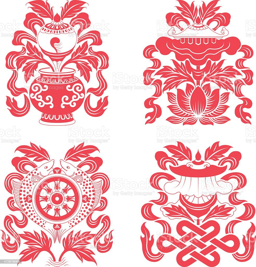 Eight auspicious treasures in Buddhism vector art illustration