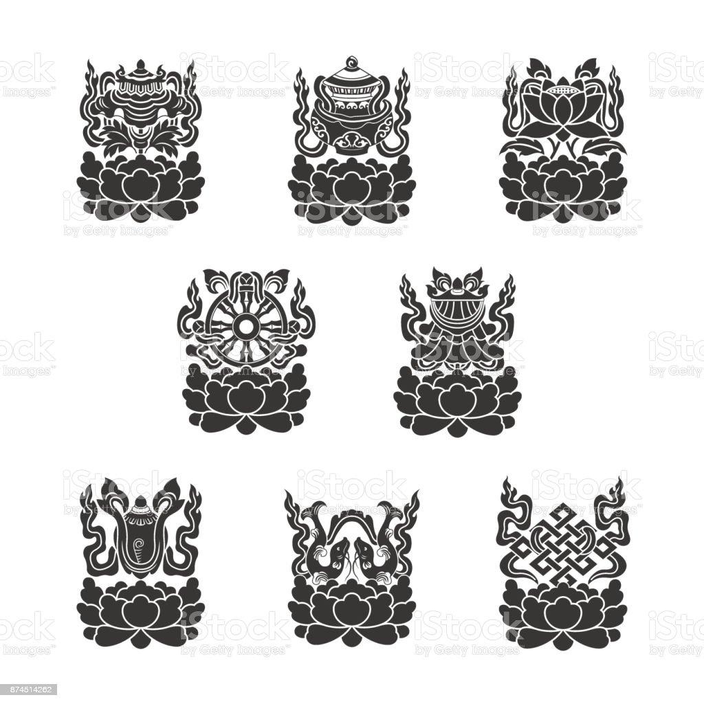 Eight auspicious treasures in Buddhism vector art illustration