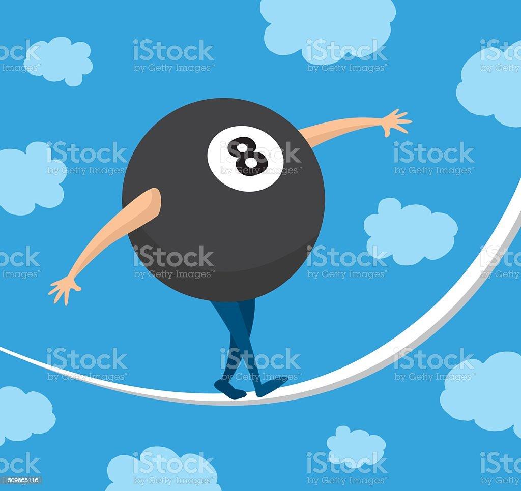8c21dfb251870 Bola ocho equilibrio sobre una cuerda de impulsar suerte ilustración de bola  ocho equilibrio sobre una
