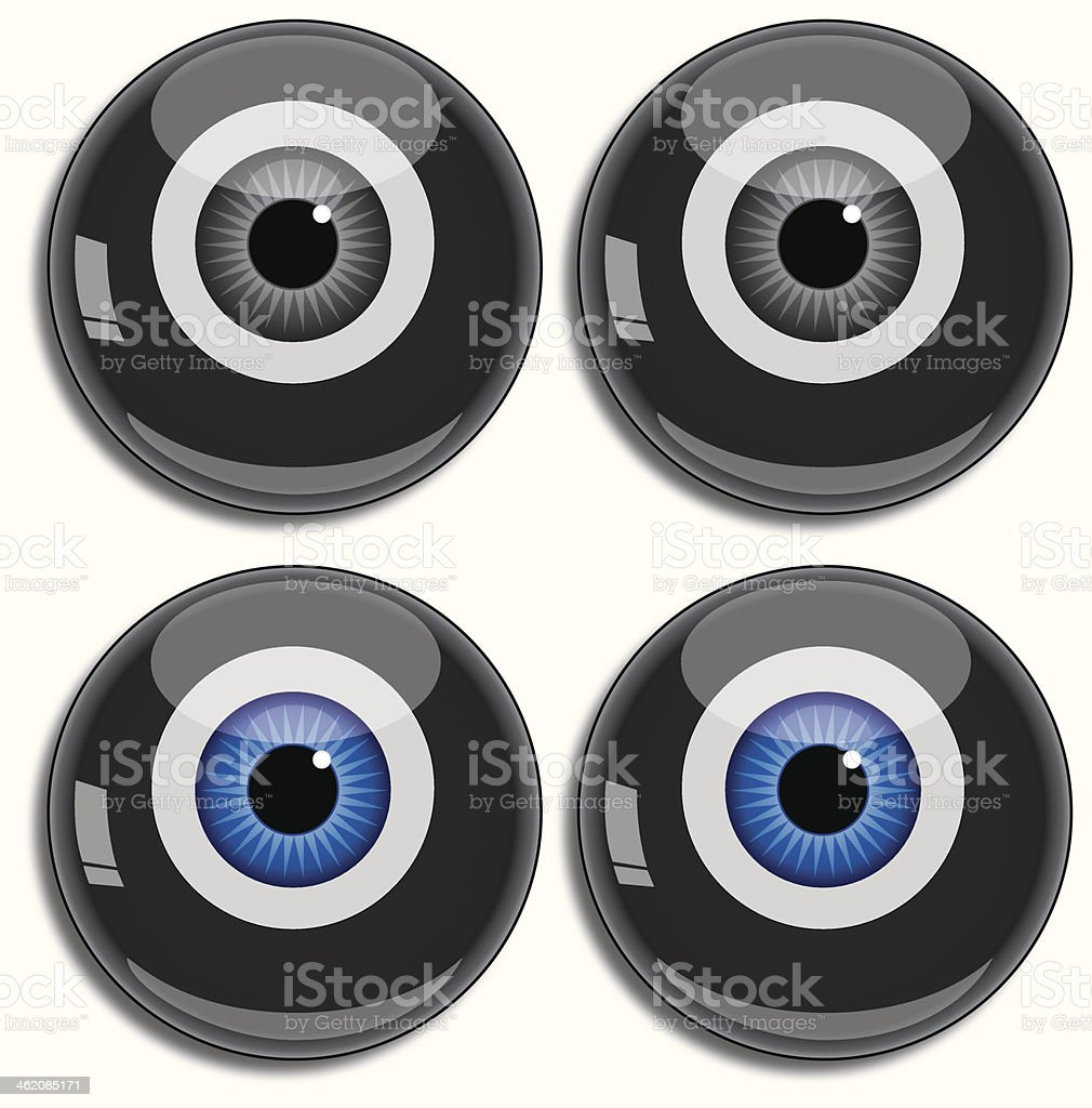 Eight ball eyes vector art illustration