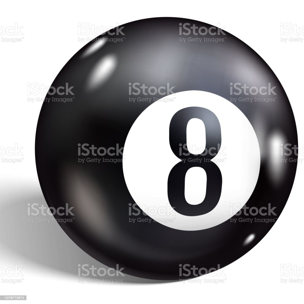 Eight Ball. Vector illustration billiards. Realistic 8 ball isolated on a white background. vector art illustration