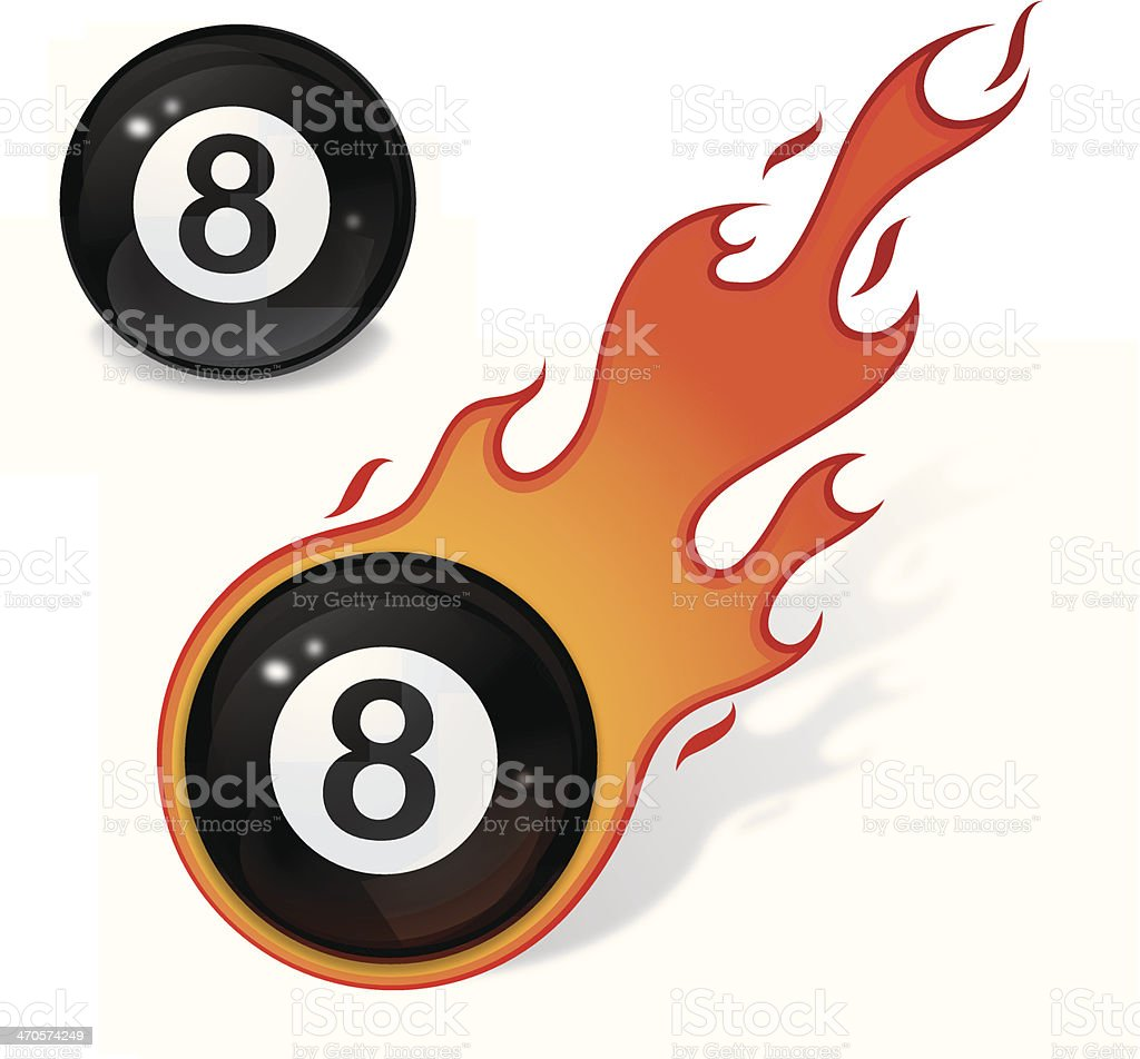 Eight ball with flame vector art illustration