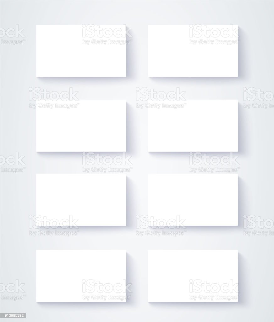 Eight Blank Business Cards Mock Up Design On White Background ...