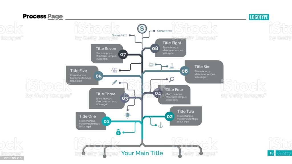 Eight Branch Tree Slide Template vector art illustration
