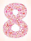 Eight on Breast Cancer Awarness Icon Pattern