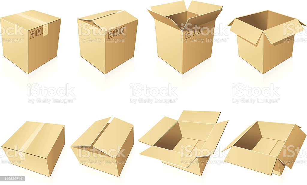 Eight cardboard boxes, some sealed, some open vector art illustration