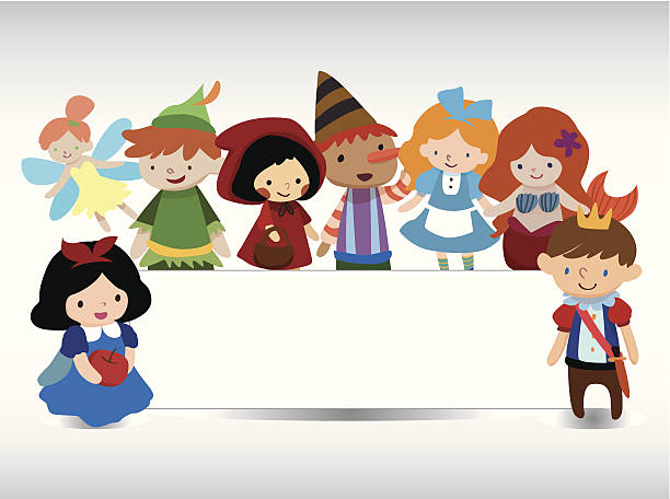 Eight cartoon fairytale characters on white background cartoon story people card peter pan stock illustrations