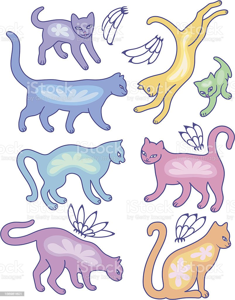 Eight cat silhouettes and fly flowers royalty-free stock vector art