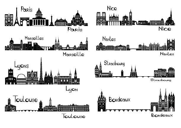 stockillustraties, clipart, cartoons en iconen met eight cities of france - marseille