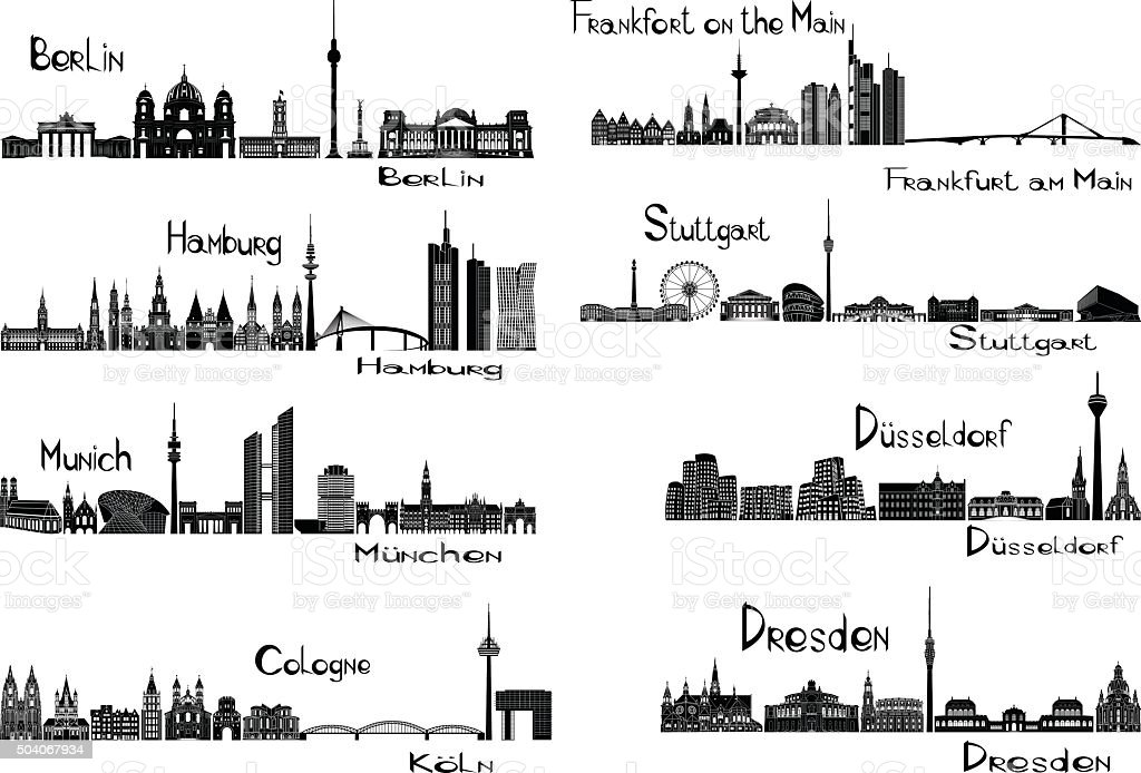 Eight cities of Germany vector art illustration