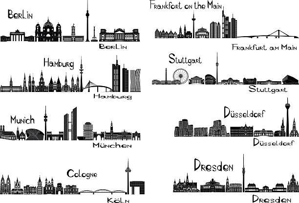 bildbanksillustrationer, clip art samt tecknat material och ikoner med eight cities of germany - berlin city